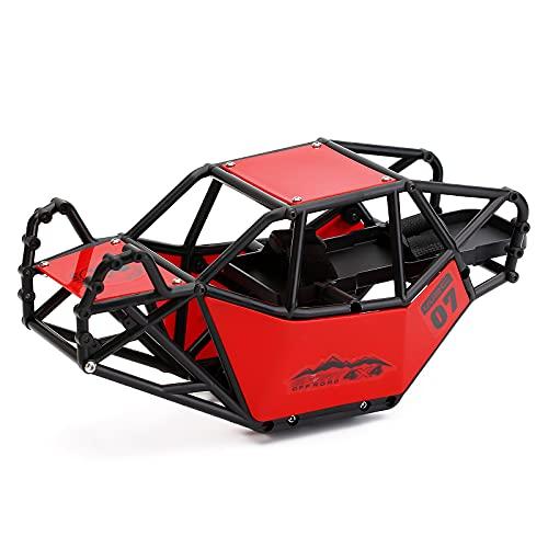 INJORA RC Roll Cage Rock Buggy Body Shell para 1/10 RC Crawler Car Axial SCX10 & SCX10 II 90046 (Rojo)