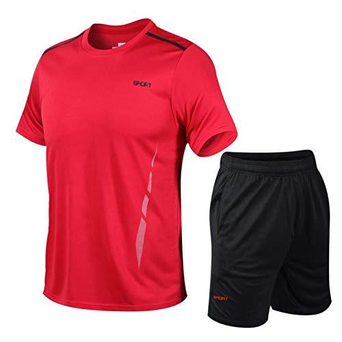 WWWSS Chándales para Hombre,2 Piezas Conjuntos de Deporte Completo,Slim Fit Camisetas de Manga Corta + Pantalones Corta de Cintura Elástica,Para Correr Entrenamiento Gimnasio (Rojo, 3x_l)