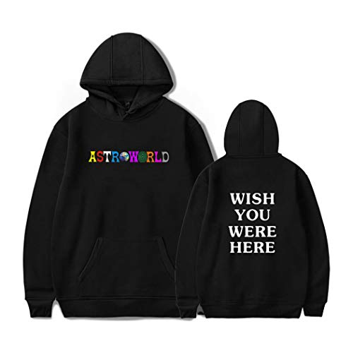 JLTPH Unisexe Sweat à Capuche Astroworld Wish You Were Here Imprimé Hoodie Hooded Sweat à Capuche avec Poche Style Classique Mode Pull Sweat-Shirt Causual Hip Hop Vêtements