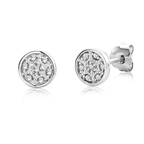 Miore Ohrringe Damen Diamant Ohrstecker Weißgold 9 Karat / 375 Gold mit Diamanten Brillanten 0.06 Ct, Schmuck