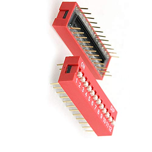 Aexit 10 piezas, color rojo, doble fila, 24 pin, 12p, posiciones, interruptor DIP, paso (model: G4241IV-5448HL) de 2,54 mm