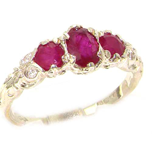 925 Sterling Silver Real Genuine Ruby Womens Trilogy Engagement Ring - Size 6