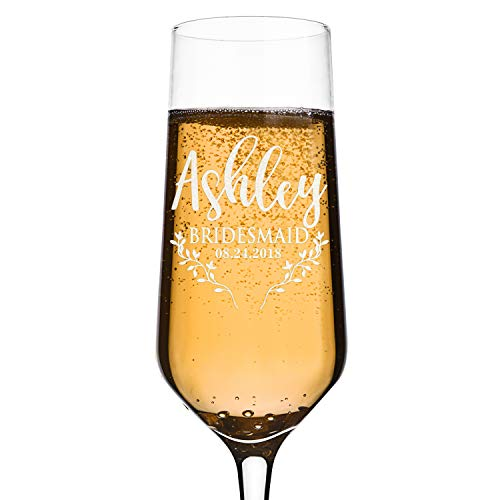 Bridesmaid Gifts, Personalized Bridesmaid Champagne Flutes, Toasting Glasses for Wedding, Bridal Party, Engraved Bridal Shower Champange Glasses, Gift for Maid of Honor, Bachelorette Party