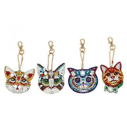 DIY Diamond Painting Keychain, Full Drill Diamond Mosaic Keychain Pendant Kit for DIY Art Craft Cat Head 4 Pcs by SimingD