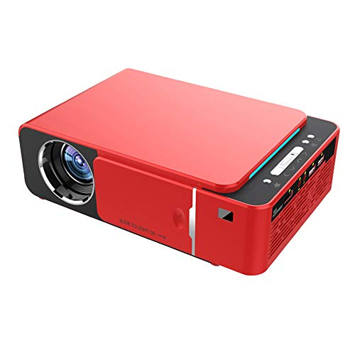 SMAA Mini Wireless-Projektor, LED-LCD-WiFi Spiegel Version Home Theater Videoprojektor Film/Gaming/File Sharing, Unterstützt Wired-System, USB & More,Rot