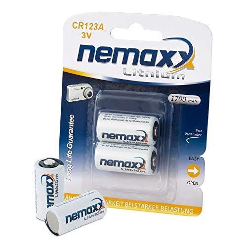 Nemaxx 3V Batterie au Lithium pour caméras CR123A Batterie d'appareil Photo 1700mAh (2 pièces/unité)