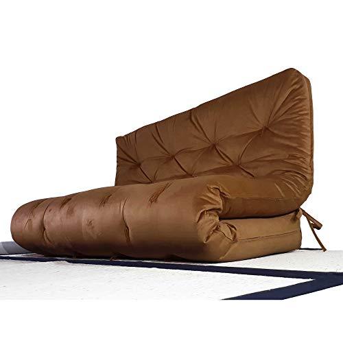 Colchão futon casal dobrável sofa cama marrom
