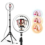 12' LED Selfie Ring Light with Tripod Stand & Cell Phone Holder for Live Streaming/YouTube Video/Vlogs, Dimmable Makeup Ring Light for Photography, Shooting with 10 Brightness Level & 3 Light Modes