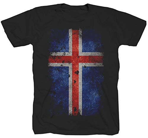 Island Fahne Flag Viking schwarz T-Shirt (5XL)