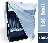 Huellen King Premium Strandkorb Schutzhülle 120 breit | Winterfest und UV Beständig | 600D Oxford Gewebe | Strandkorbabdeckung Winterfest...