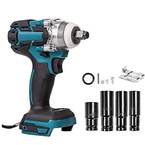 DierCosy Tools Llave de impacto, llave eléctrica inalámbrica de 18 V con enchufes de tornillo, llave de impacto de 1/2 pulgada sin escobillas de 280 nm, herramienta eléctrica para carpintería de inge