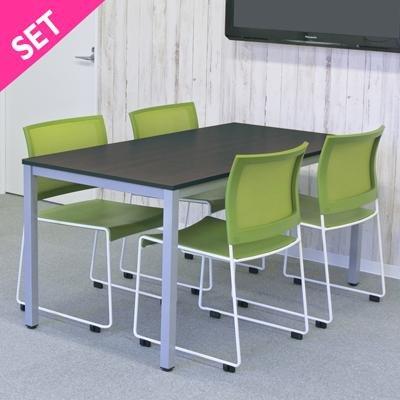 【事業所様お届け 限定商品】おしゃれなミーティング テーブル セット(背メッシュチェア)4人用 ナチュラルTable グリーン