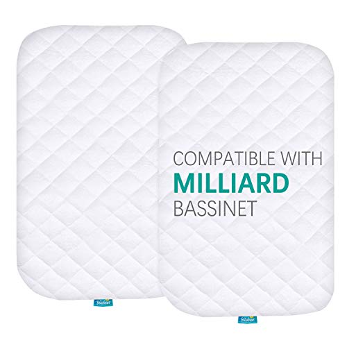 Waterproof Quilted Bassinet Mattress Pad Cover Compatible with Milliard Side Sleeper Bedside Bassinet, 2 Pack, Ultra Soft Bamboo Sleep Surface, Breathable and Easy Care
