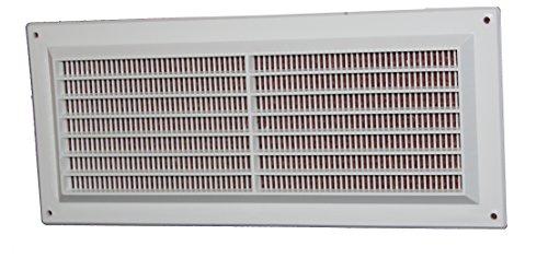 Lüftungsgitter - Abluftgitter aus Kunststoff mit Insektenschutz: 300 x 130 mm - weiß , vr1330