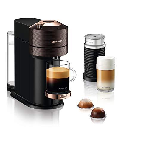 De'Longhi Nespresso Vertuo Next Premium ENV 120.BWAE Kaffeekapselmaschine mit Aeroccino Milchaufschäumer, braun mit roségoldfarbenen Details