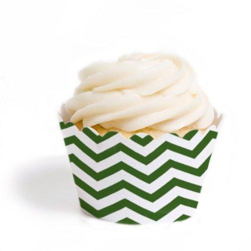 Dress My Cupcake - Juego de 18 envoltorios para cupcakes, diseño de chevron, color verde