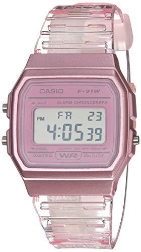 Casio Reloj De Cuarzo Con Correa De Resina, Rosa, 20 (Modelo: F-91Ws-4Cf)
