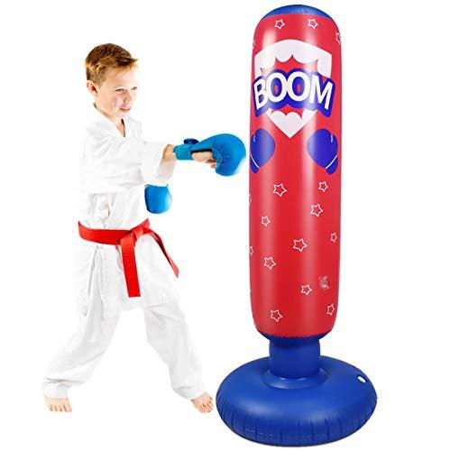 Rehomy 125Cm Boxsack Kinder Aufblasbarer Boxsack Kinder Freistehend Sofort Zurückspringen Boxsack für Fitness Üben Stressabbau Kickboxen Karate