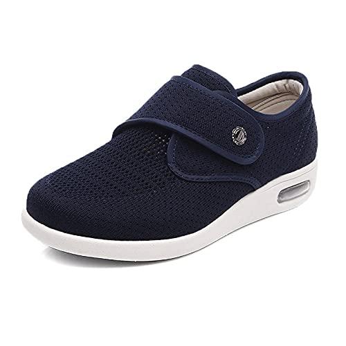 CYN Zapatillas Ortopedicas Velcro, Más Fertilizante más Ancho Zapatos hinchados de Ancho de Mediana Edad hinchados de Gran tamaño mágico Pegado a la Abuela Zapatos-Azul_39EU