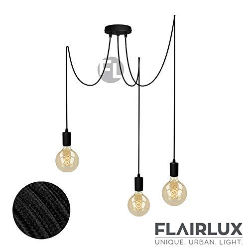 Pendelleuchte schwarz metall 3 flammig DIY E27 mit Textilkabel höhenverstellbar Deckenleuchte Vintage Lampe Retro elegantes Design für Ihre Wohnung. (Schwarz, 3 x 2 Meter)