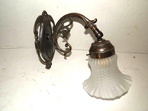 Applique lampada da parete in ottone con vetro Liberty
