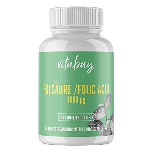 Ácido Fólico Vitabay, 1000 Mcg (240 Tabletas) • Pastillas Ácido Fólico para la salud • Apoyo del sistema inmune • Vitamina prenatal y durante el embarazo • Calidad alemana