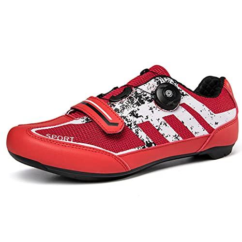 ASORT Zapatillas de Ciclismo para Hombre, Zapatillas de Ciclismo de Carretera para Mujer, Zapatillas de Bicicleta de Montaña, Zapatillas Deportivas Antideslizantes, Transpirables y Asistidas,Red-38EU