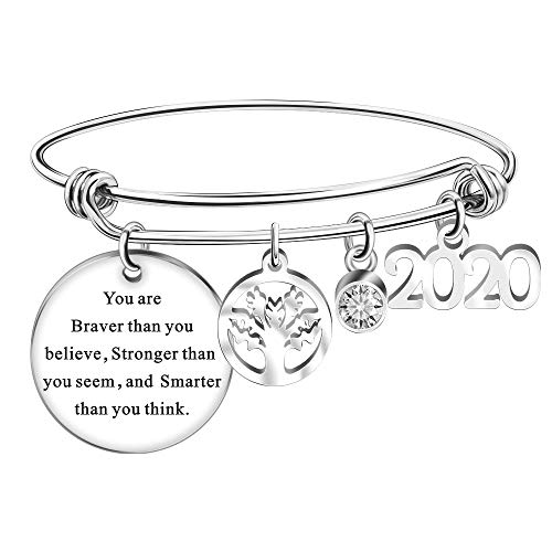 Regalos de Graduación 2020 Egraveerd You are Braver Than You Believe Armband - Vriendschap Afstuderen Presenteert voor Haar/Hem