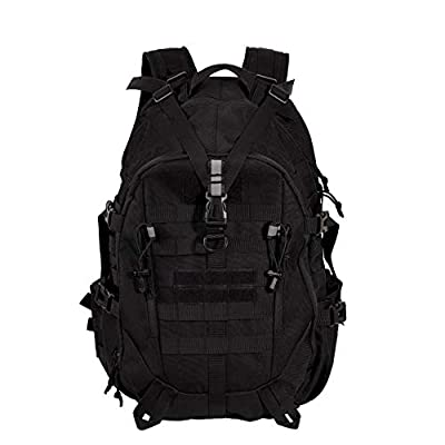 LHI Military Tactical Backpack 45L 3 Days Large Army Pack Bugout Bag Molle Backpack Rucksack with Reflector - Black