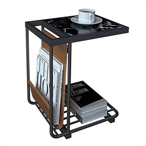CHUNLAN Table d'appoint de canapé, plateau de table en marbre, structure en métal, poche latérale en PU, porte-revues multifonctions, bureau téléphonique, 2 couleurs, 2 tailles