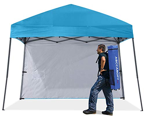 ABCCANOPY Outdoor Pop Up Canopy 10x10 Beach Camping Canopy with 1 Sun Wall, Bonus Backpack Bag, Stakes and Ropes, Sky Blue