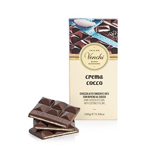 Tavoletta Crema Cocco, 100g - Cioccolato Fondente 56% con Ripieno al Cocco...
