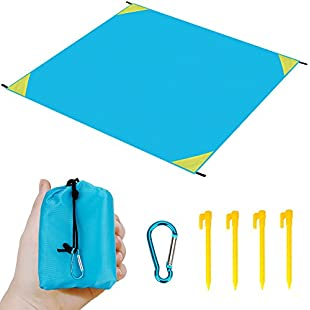 "Lightweight Waterproof Picnic Beach Blanket,Fukalu 55""x 71"" (for 4 Person) Compact Portable Pocket Size Lightweight Waterproof Sandproof Picnic Blanket Beach Mat with Pegs for Beach Camping Hiking (Blue+Yellow):Enlaweb"