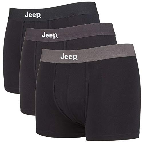 Jeep - 3er Pack Baumwolle Weich Boxershorts Trunks Unterhosen (L, Schwarz/Tones)