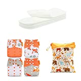 4 couches lavables réutilisables, taille unique lavable, couches lavables pour bébé avec inserts en coton pour nouveau-né, 1 an, 2 ans (COLOR 1)