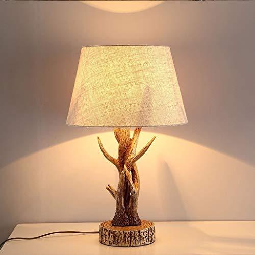 CENPEN Lámparas de mesa, personalidad simple pantalla de tela de la personalidad de la resina del dormitorio sala Luces Estudio Creative Arts American Country lámpara de cabecera, luz de la noche de l
