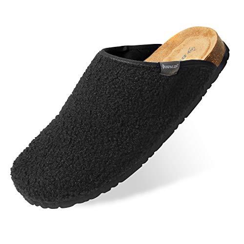 Dunlop Ciabatte Uomo, Pantofole Invernali da Casa, Ciabatta Antiscivolo con Pelliccia E Soletta Memory Foam, Babbucce Calde E Comode, Idea Regalo Compleanno (Nero, Numeric_44)