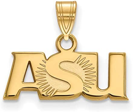 26mm x 10mm 925 Sterling Silver Yellow Gold-Plated Official Arizona State University Large Pendant Charm