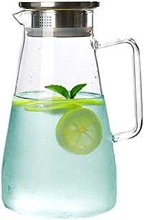 LuluLife 冷水筒 ガラスピッチャー ガラスポット 麦茶ポット 耐熱ガラスポット ピッチャー 耐熱 直火可 大容量 透明水筒 1.8L