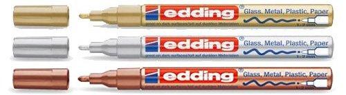 edding Glanzlack-Marker creative 751 metallic Grundfarben, 1 - 2 mm (Gold, Silber und Kupfer)