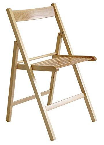 Valdomo - Lot de 4 chaises pliantes, en bois massif de noyer ou de hêtre naturel, 43 x 6,5 x 87 cm Hêtre