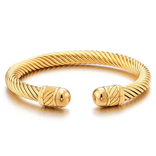 COOLSTEELANDBEYOND Elástica Ajustable, Color Oro Pulsera de Hombre Mujer, Acero Inoxidable, Cable de Acero, Espejo Pulido