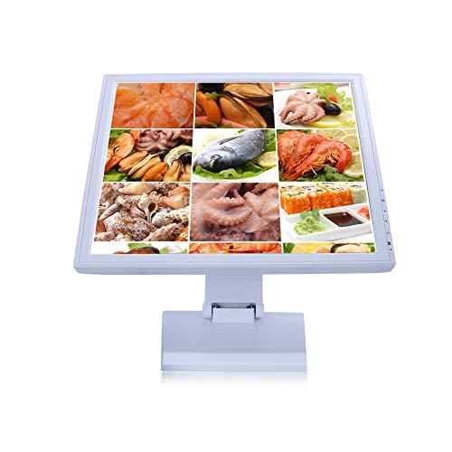 YIYIBY Pantalla táctil Caja registradora POS TFT Pantalla LCD VGA USB para Bar Restaurant Business 17 Pulgadas Blanco