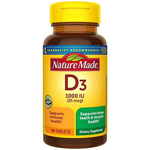 Nature Made Vitamin D3, 100 Tablets, Vitamin D 1000 IU (25 mcg) Helps Support Immune Health, Strong Bones and Teeth, & Muscle Function, 125% of the Daily Value for Vitamin D in One Daily Tablet