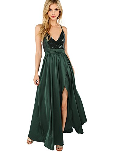 SheIn Women's Sexy Satin Deep V Neck Backless Sequin Maxi Party Evening Dress Medium Dark Green Sequin Louisiana