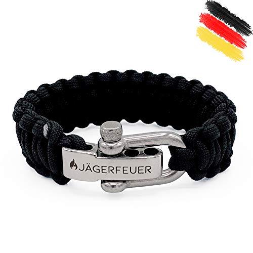 Jägerfeuer Paracord Survival Armband für Herren/Damen mit einstellbarem Edelstahl Verschluss (Schwarz)