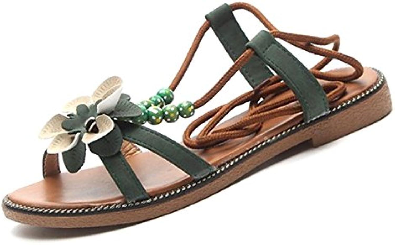 Women's shoes Rubber Summer Comfort Sandals Flat Heel for Outdoor Black Beige Green