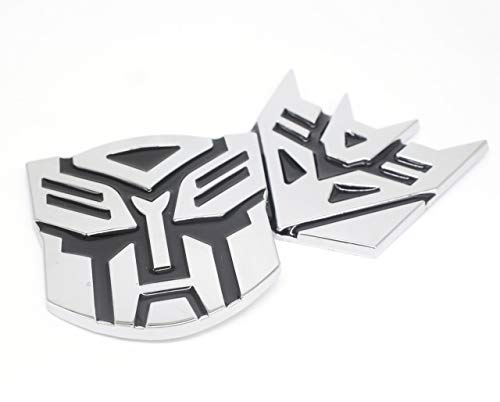 Transformers 3D Style Pure Metal car Decorative Stickers Decal Ornament Badge 1 Pair 3'x3'