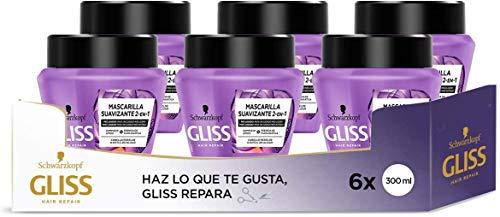 Gliss - Mascarilla Liso Asiático – 6uds de 300ml (1.800ml) – Para cabello rebelde o difícil de alisar – Gama alisado fácil