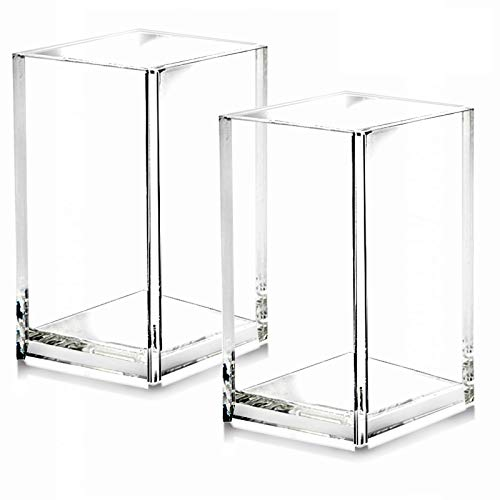 2 Pack Clear Acrylic Pencil Pen Holder Cup,Desk Accessories Holder,Makeup Brush Storage...